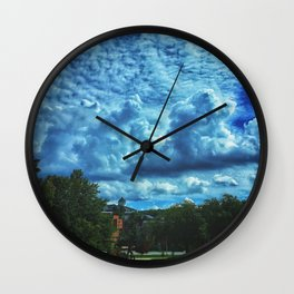She Fell Up Into Blue Skies Wall Clock