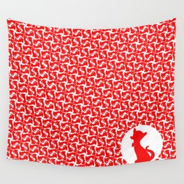 Red Kitty Cat Print Wall Tapestry