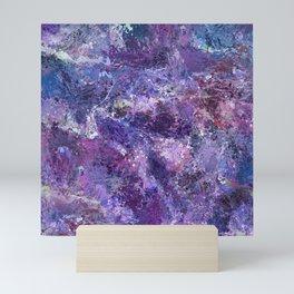 Violet drip abstraction Mini Art Print