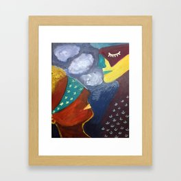 blindfolded with closed eye Framed Art Print