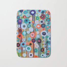 Abstract Medley of Flowers Circle Field of Blooms Painting by Prisarts Bath Mat