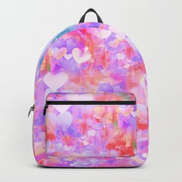 Pink Watecolor Hearts Backpack