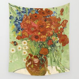 "Vincent van Gogh ""Still Life, Vase with Daisies, and Poppies"" Wall Tapestry"