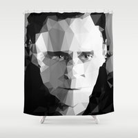 tom hiddleston Shower Curtains featuring TOM by THE USUAL DESIGNERS