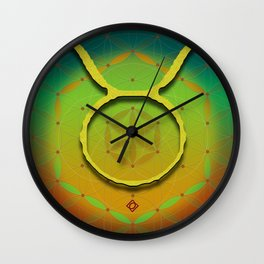 Flower of Life TAURUS Astrology Design Wall Clock