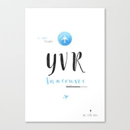 YVR VANCOUVER AIRPORT CODE S Canvas Print