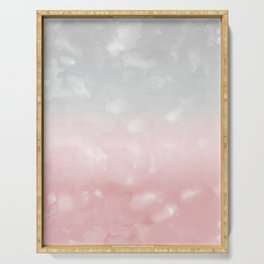 Touching Blush Gray Abstract Painting #1 #ink #decor #art #society6 Serving Tray
