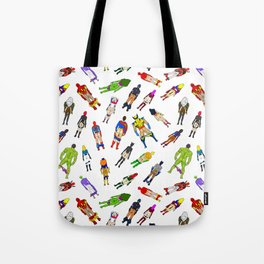 Superhero Butts with Villians - Light Pattern Tote Bag
