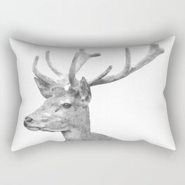 Black and white deer animal portrait Rectangular Pillow