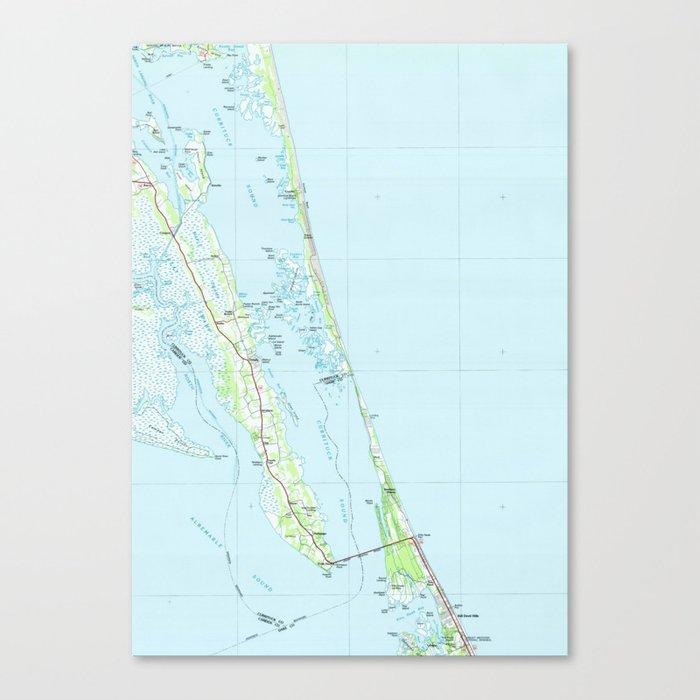 Northern Outer Banks North Carolina Map (1985) Canvas Print by bravuramedia