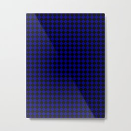 Black and Navy Blue Diamonds Metal Print