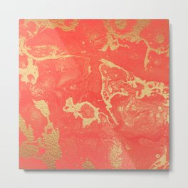 Effect coral and gold marble Metal Print