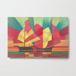 Cubist Abstract of Junk Sails and Ocean Skies Metal Print