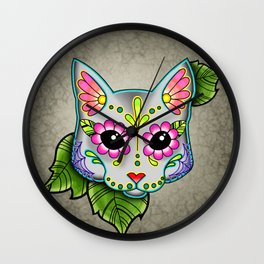 Grey Cat - Day of the Dead Sugar Skull Kitty Wall Clock