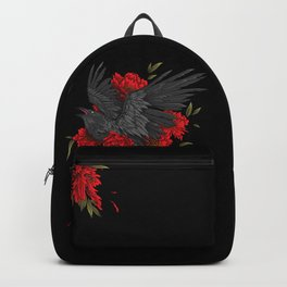 Raven with flowers Backpack