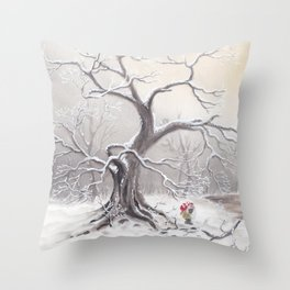 Gnome and fox Throw Pillow
