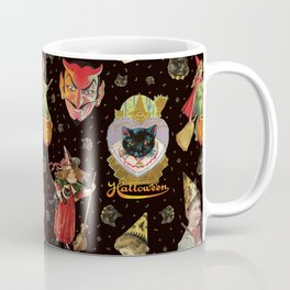 Vintage Halloween Party in Black Cat + Gold Celestial Coffee Mug