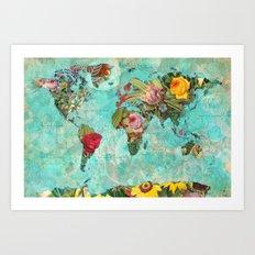 Flower World Map Art Print