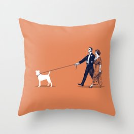 Walking the Dog Throw Pillow