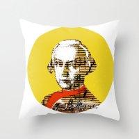 mozart Throw Pillows featuring Mozart Kugel Yellow by Marko Köppe