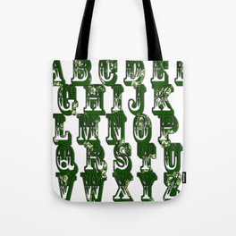 Green CanalFlowers Alphabet Tote Bag
