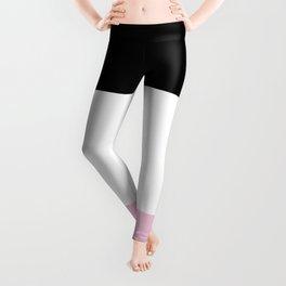 Black White Pink Color Blocks Leggings