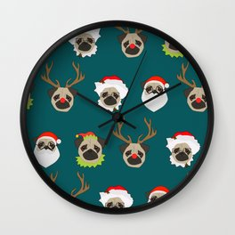 Christmas Pug Pattern Wall Clock