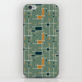 Intersecting Lines in Olive, Blue-green and Orange iPhone Skin