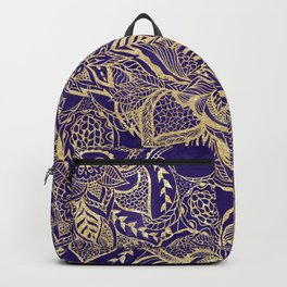 Gold hand drawn floral lace mandala on purple watercolor peacock Backpack