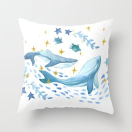 Underwater world with stars - watercolor Throw Pillow
