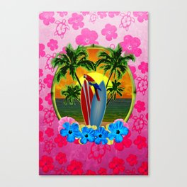 Tropical Sunset Pink Flower Canvas Print