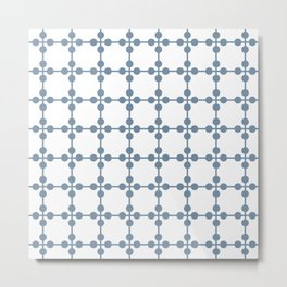 Droplets Pattern - White & Dusky Blue Metal Print