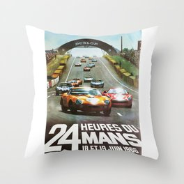 1966 Le Mans poster, Race poster, car poster, garage poster Throw Pillow