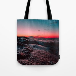 Pink ocean from sunset Tote Bag