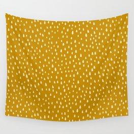 Mustard Paint Drops Wall Tapestry