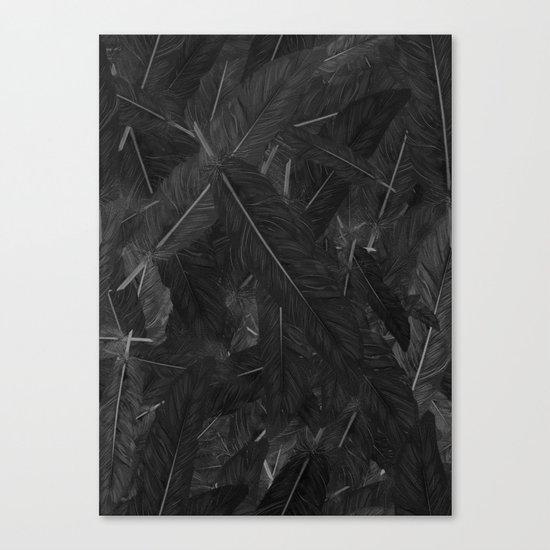 Feathered (Black). Canvas Print