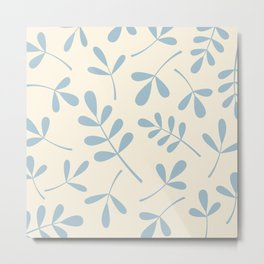 Assorted Leaf Silhouettes Blue on Cream Metal Print