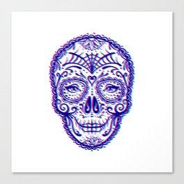 Sugar Skull (Calavera) Chromatic Aberration - Cyan Magenta Canvas Print