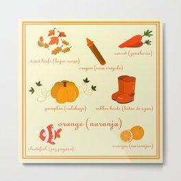 Colors: orange (Los colores: naranja) Metal Print