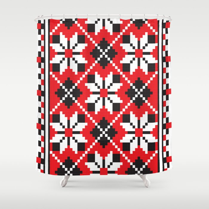 Slavik Red Black And White Floral Cross Stitch Design Pattern Shower Curtain