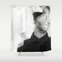 number Shower Curtains featuring Faceless | number 01 by FAMOUS WHEN DEAD