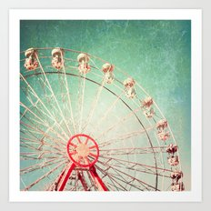 Vintage Textured Ferris Wheel Art Print