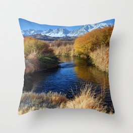 Owens River And Eastern Sierra Nevada Mountains Throw Pillow
