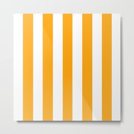 Dark tangerine yellow - solid color - white vertical lines pattern Metal Print