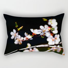 White Japanese Apricot Flowers Against The Black Background Rectangular Pillow