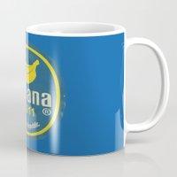 sticker Mugs featuring Banana Sticker On Blue by Karolis Butenas