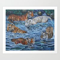 tigers Art Prints featuring Tigers by Mbeng Pouka