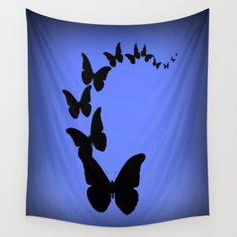 Migrating Black Butterflies Evening Blue Sky Wall Tapestry