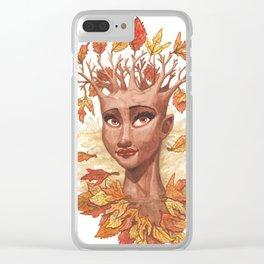 Fall Goddess Clear iPhone Case