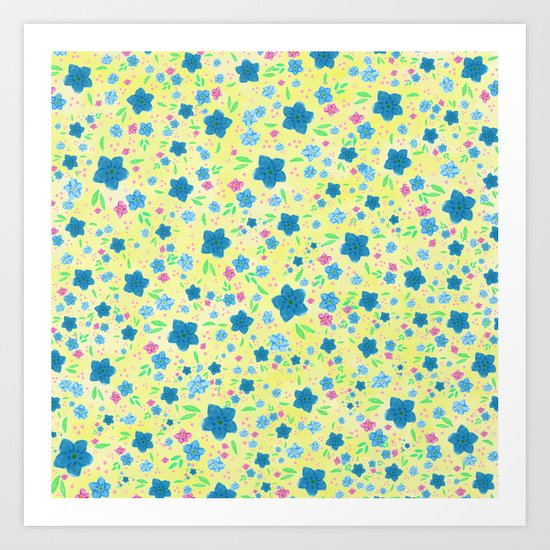 Forget Me Nots - Yellow  Art Print